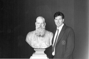 Les Eastman at Lords Museum, London, with a bust of WG Grace.