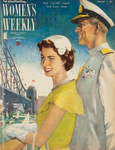 The Australian Womens Weekly cover depiction of the arrival of the Royal Couple in Sydney.