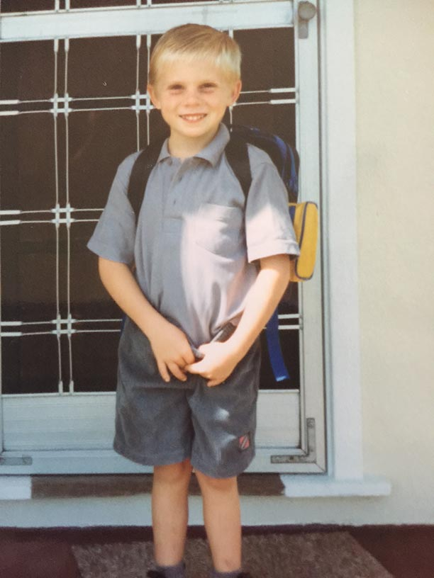 Ricky on his way to school.