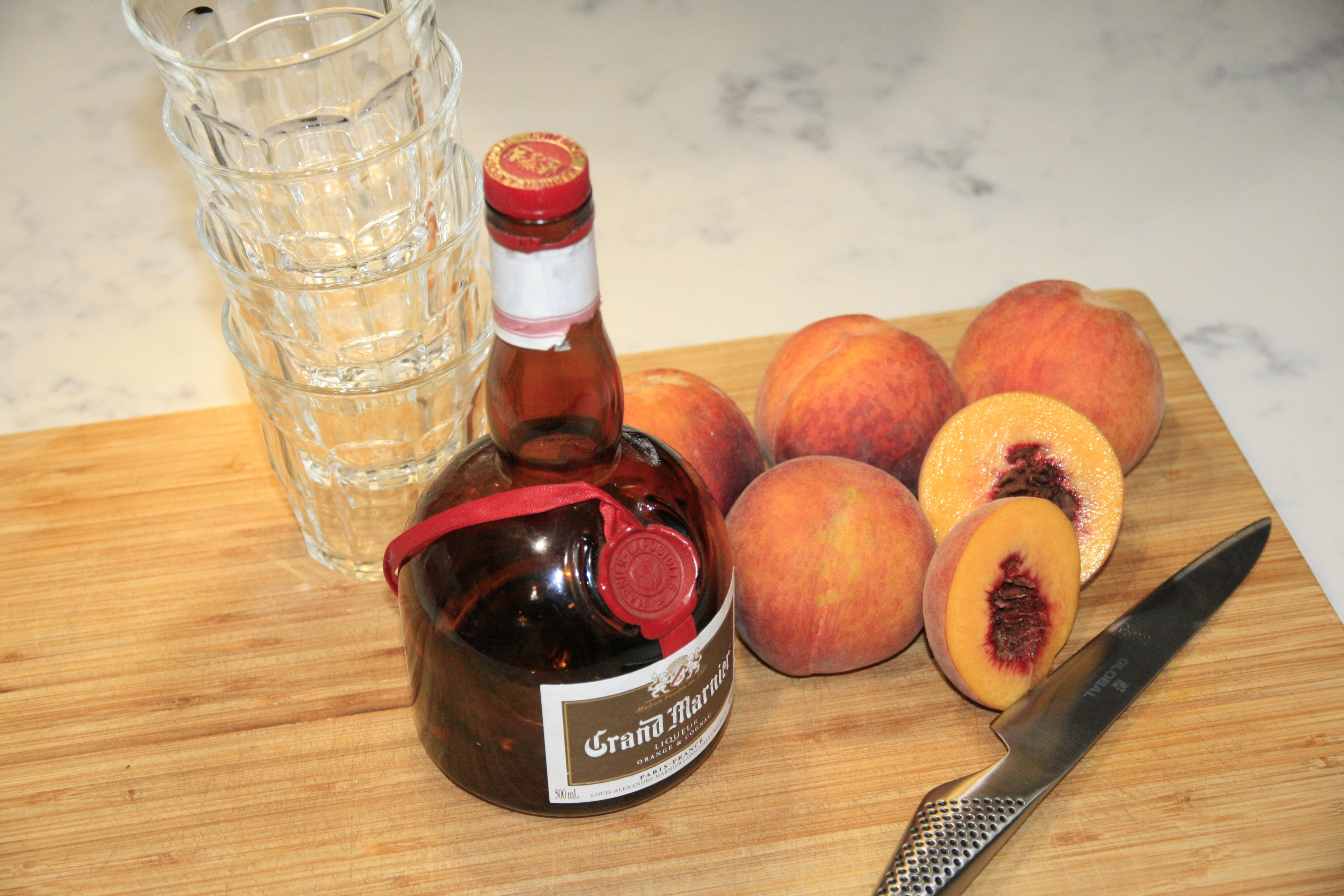 Poached Peaches in Grand Marnier